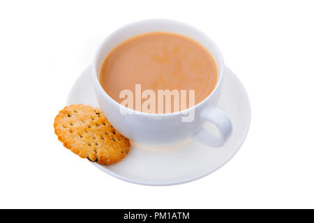 Cup of tea and a biscuit, cut out or isolated against a white background, UK. - Stock Image