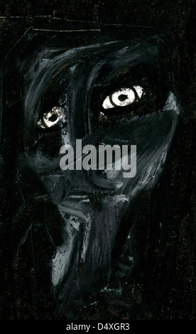 Expressive portrait of Despair. - Stock Image