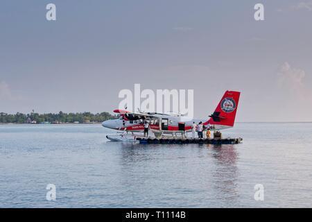 Trans Maldivian Airways (TMA)De Havilland DHC-6-300 Twin Otter seaplane, Indian Ocean, Maldives - Stock Image