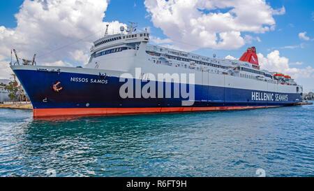 Hellenic Seaways car and passenger ferry Nissos Samos berthing in the port of Piraeus Athens Greece Europe - Stock Image