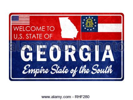 Welcome to Georgia - grunge sign - Stock Image