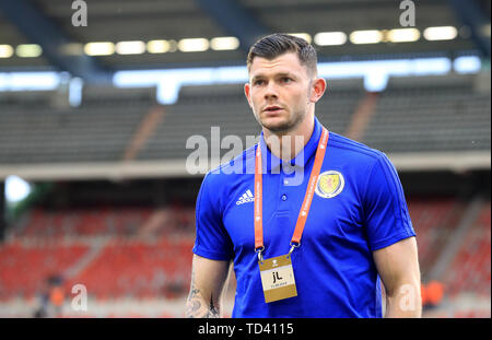 Scotland's Oliver Burke on the pitch before the UEFA Euro 2020 Qualifying, Group I match at the King Baudouin Stadium, Brussels. - Stock Image