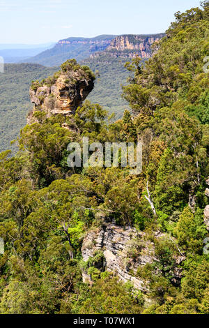 Rock formation seen from a lookout overlooking the Jamison Valley at Katoomba, Blue Mountains National Park, New South Wales, Australia. - Stock Image