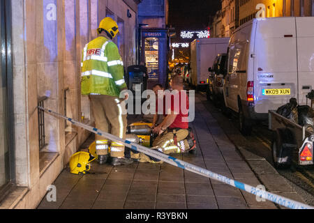 Bath Somerset UK, 24th November 2018  Fire crew tackling down after succcessfully dealing with a fire at westgate public house bath somerset  Credit Estelle Bowden/Alamy Live News - Stock Image