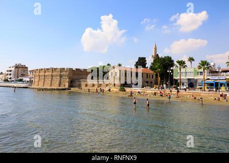 Larnaca fort , Finikoudes beach, Larnaca, Cyprus October 2018 - Stock Image