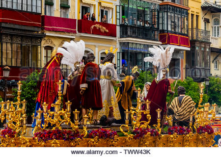 A paso (float) in the procession of the Brotherhood (Hermandad) San Bernardo, Holy Week (Semana Santa), Seville, Andalusia, Spain. - Stock Image