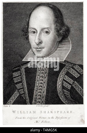 William Shakespeare (1564-1616), portrait engraving, Thomas Trotter, 17th Century - Stock Image