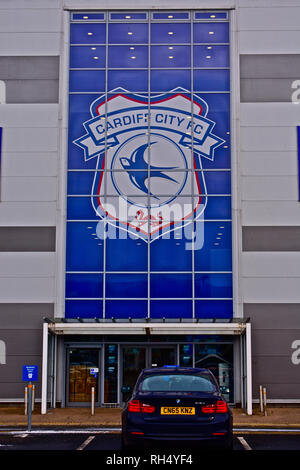 Cardiff City Football Club Stadium at Leckwith on the outskirts of Cardiff.Close up of main entrance. - Stock Image