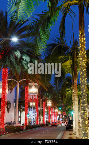 Rodeo drive, Beverly Hills, Los Angeles, Californa during Christmas at night. - Stock Image