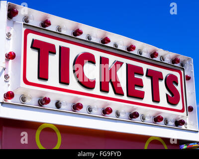 Tickets sign booth at a county fair carnival - Stock Image