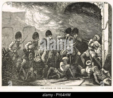 Attack on the fort of  Alambagh, India, during the Indian Mutiny of 1857 - Stock Image