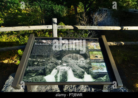 Information board about the Rockefeller Bridges in Acadia National Park, Maine, USA. - Stock Image