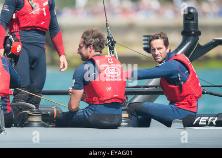 Portsmouth, UK. 25th July 2015. Ben Ainslie looks to camera having congratulated the team after their second place - Stock Image