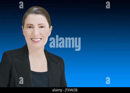 Female robo-advisor or chat bot concept template, friendly smiling computer generated woman in front of blue backdrop, lots of copy or text space - Stock Image