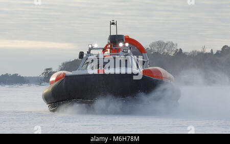 Tiger 12 hovercraft demonstrating its mobilty on ice and snow off Helsinki in early March. The vessel is available - Stock Image