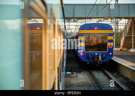 The famous Blue Train leaving the Beaufort West station, as seen from  a regular passenger train. Beaufort West , South Africa - - Stock Image