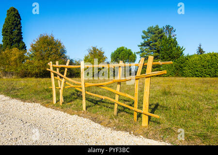 New rustic fencing - France. - Stock Image