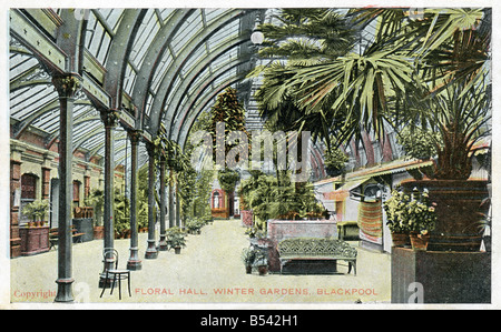 Old vintage seaside picture postcard of the Floral Hall Winter Gardens Blackpool  EDITORIAL USE ONLY - Stock Image