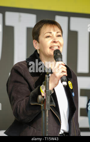 London, UK. 23rd Mar, 2019. Caroline Luca MP, Green Party,  for Brighton Pavilion, speaking at the People's Vote March and rally, 'Put it to the People.' Credit: Prixpics/Alamy Live News - Stock Image