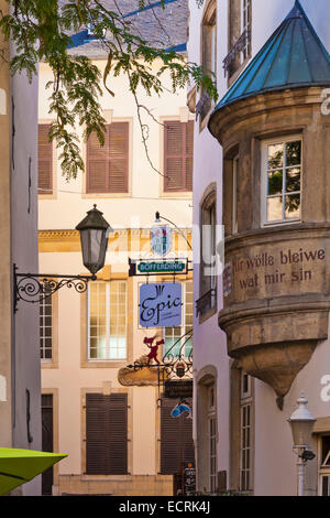 FISHMARKET SQUARE, FISH MARKET, OLD TOWN, CENTRE, LUXEMBOURG CITY, LUXEMBURG, LUXEMBOURG - Stock Image