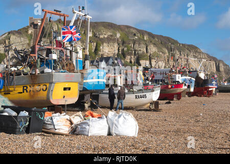 Fishing boats on Hastings Old Town Stade beach, East Sussex, UK - Stock Image