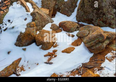 rugged terrain, winter, snow - Stock Image