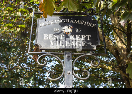 Buckinghamshire best kept village sign, Windmill Road, Fulmer, Buckinghamshire, England, United Kingdom - Stock Image