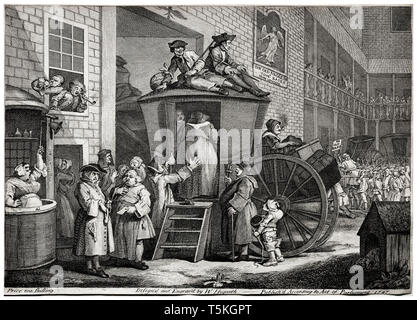 William Hogarth, The Stage Coach, engraving, 1747 - Stock Image