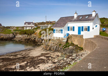 UK, Wales, Anglesey, Rhoscolyn, waterfront properties around harbour - Stock Image