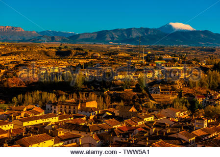 High angle view of the town of Galera, Granada Province, Andalusia, Spain. - Stock Image