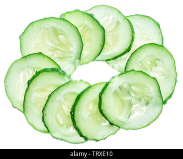 Cucumber slices isolated on the white background. - Stock Image