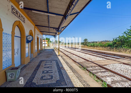 Crato, Portugal. Deactivated train station of Crato. One of the many deactivated stations in the interior of Portugal. Alto Alentejo - Stock Image