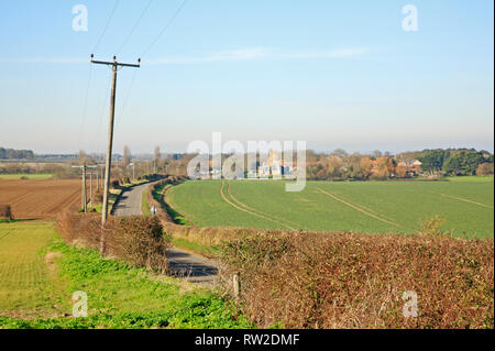 A view of the A149 coast road to the village of Morston in North Norfolk from Blakeney, Norfolk, England, United Kingdom, Europe. - Stock Image