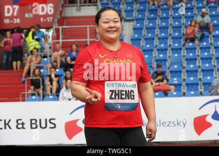 Ostrava, Czech Republic. 20th June, 2019. Wang Zheng (China) won hammer throw during the Ostrava Golden Spike, an IAAF World Challenge athletic meeting, in Ostrava, Czech Republic, on June 20, 2019. Credit: Jaroslav Ozana/CTK Photo/Alamy Live News - Stock Image
