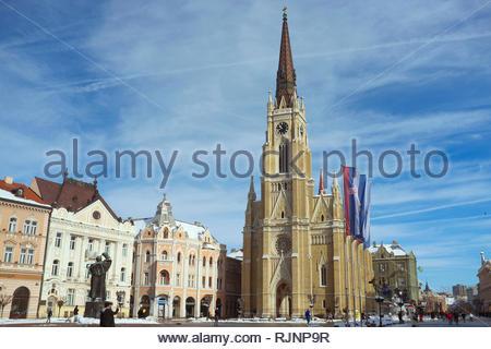 City of Novi Sad, with The Name of Mary Church (Roman Catholic) facing out over the city centre. Novi Sad, Vojvodina, Serbia. - Stock Image