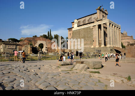 italy, rome, roman forum, basilica aemilia and temple of antonino and faustina (church of san lorenzo in miranda) - Stock Image