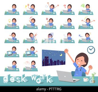 A set of Surgical Doctor women on desk work.There are various actions such as feelings and fatigue.It's vector art so it's easy to edit. - Stock Image