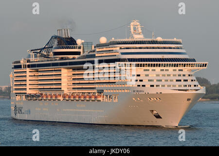 MSC Preziosa outbound from Hamburg - Stock Image