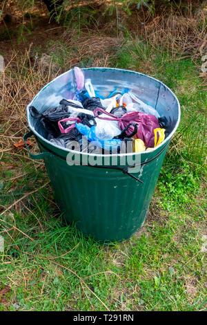 A  bin for disposal of dog mess in the North Yorkshire Moors National park - Stock Image