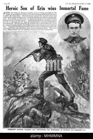 Sergeant Michael John O'Leary (29 September 1890  2 August 1961), capturing the barricade at Cuinchy on February 1st.     Date: 1915 - Stock Image