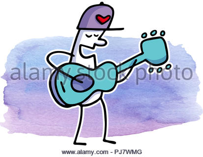 guitar player 2 - series herzchen - Stock Image