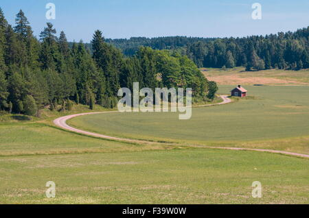 Winding small road and a red little house - Stock Image