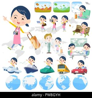 A set of Childminder women on travel.There are also vehicles such as boats and airplanes.It's vector art so it's easy to edit. - Stock Image