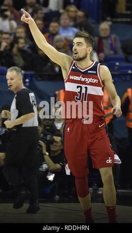 London, UK. 17th Jan, 2019. Tomas Satoransky (Washington) gestures during NBA match between Washington Wizards and New York Knicks on January 17, 2019, in London, Britain. Credit: David Svab/CTK Photo/Alamy Live News - Stock Image