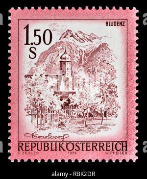 Austrian definitive postage stamp (1974) : Bludenz - Stock Image