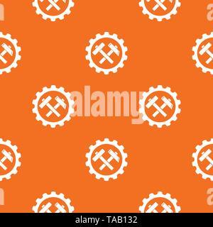 Gear pattern vector orange - Stock Image