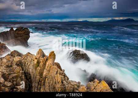 Stormy conditions at the island Runde on the Atlantic west coast, Møre og Romsdal, Norway - Stock Image