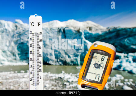 A thermometer taking the air temperature as part of a study to measure the speed of the Russell Glacier near Kangerlussuaq Greenland. The study is loo - Stock Image