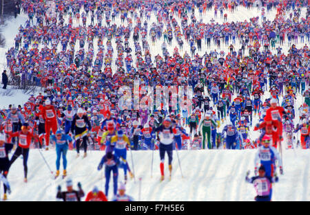 Vasaloppet is a 90-km classic cross-country ski course with about 16,500 participants who ski from Sälen to - Stock Image