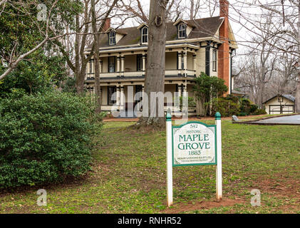 HICKORY, NC, USA-2/17/19: Historic Maple Grove House, built in 1883, an Italianate style farm house, now functions as a museum. - Stock Image